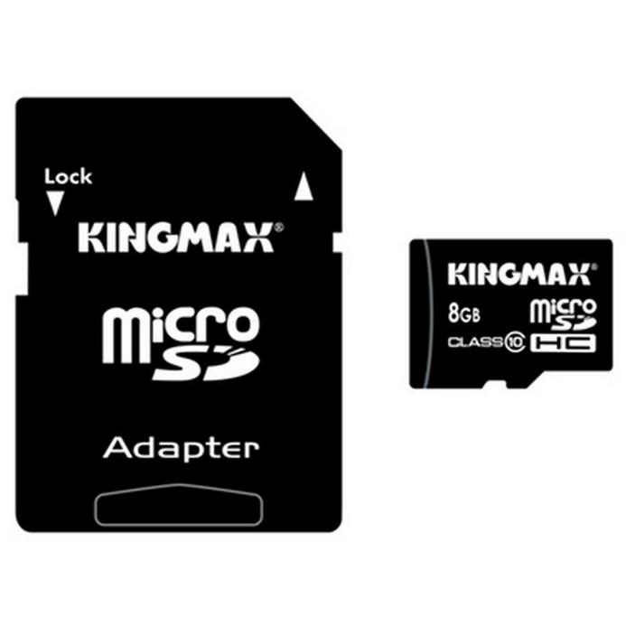Карта памяти KINGMAX Micro SDHC 8Гб Class10 + адаптер