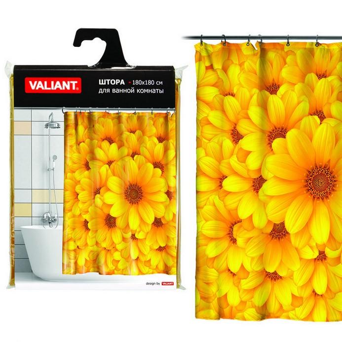 Штора для душа Valiant Желтые цветы 180x180см