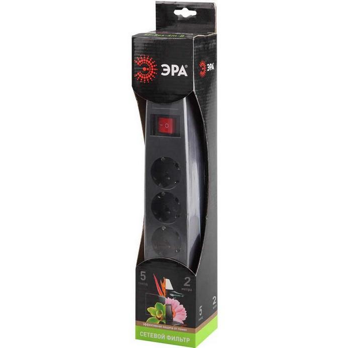 Сетевой фильтр ЭРА SF-5es-2m-B 2м