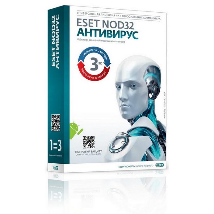 Антивирус Eset PCSB NOD32 Антивирус+Bonus+рас.ф-л 3ПК1г
