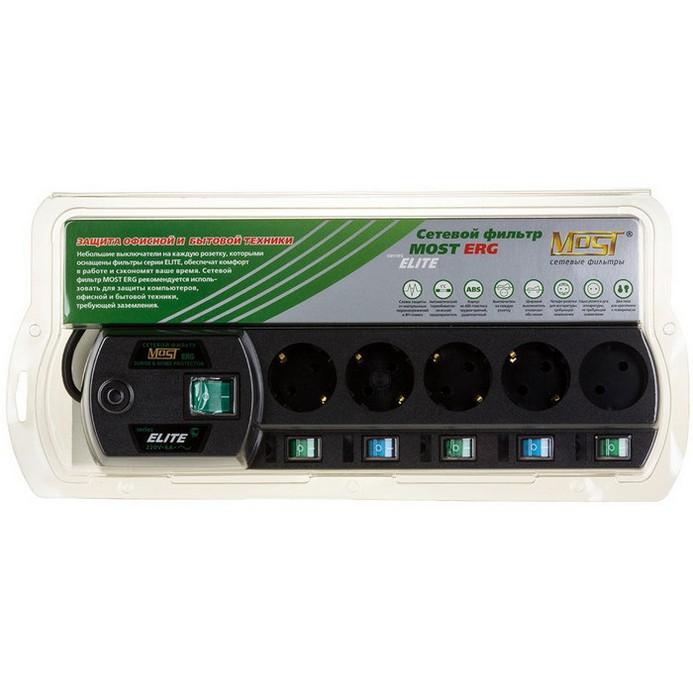 Сетевой фильтр MOST ERG 2м Black 5 розеток