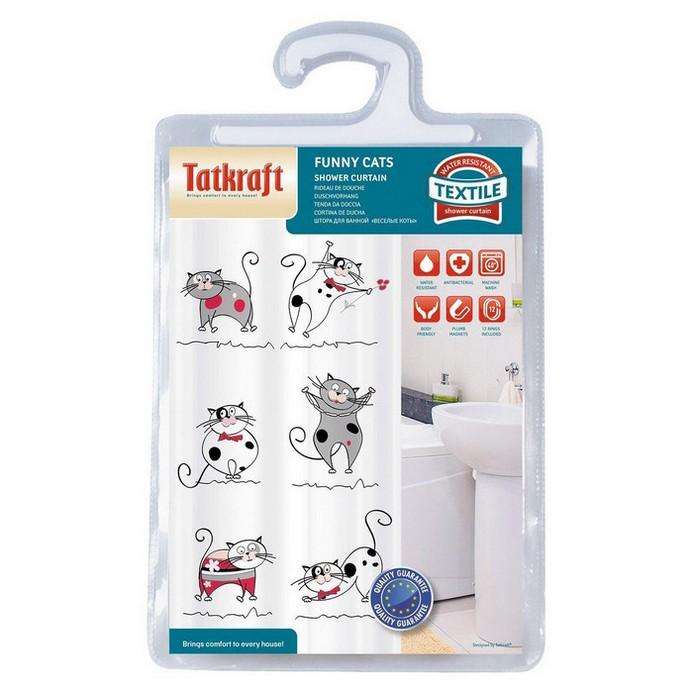 Штора для душа Tatkraft Funny Cats Textile