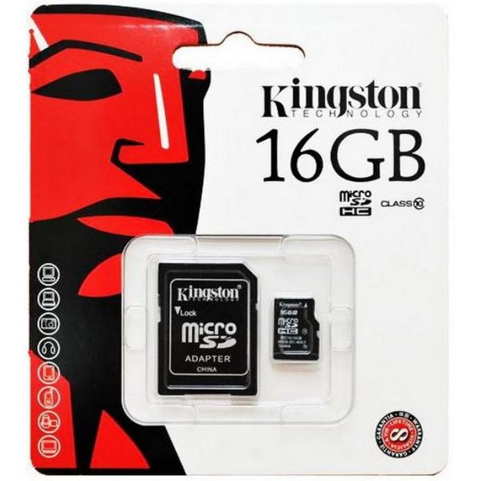 Карта памяти Kingston Micro SDHC 16Гб Class10 High-Capacity + адаптер