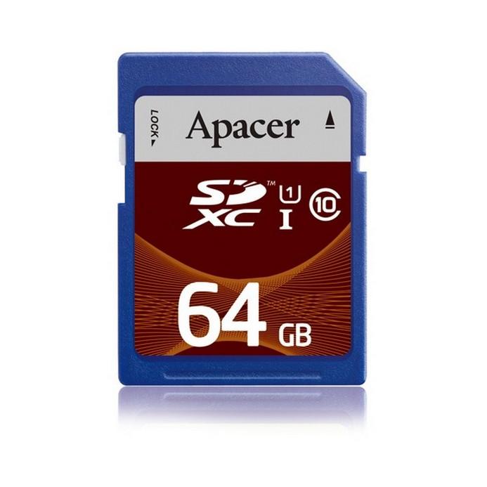 Карта памяти Apacer Class10 UHS-I AP64GSDXC10U1-R
